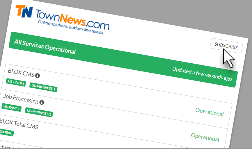 TownNews.com status reporting page