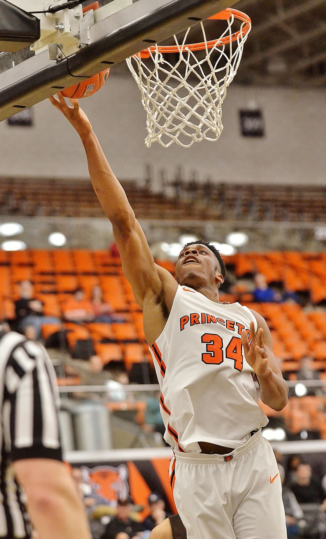 Princeton's Richmond Aririguzoh (34) lays the ball in for a basket against Brown during an Ivy League game on Friday night. (Kyle Franko/ Trentonian Photo)