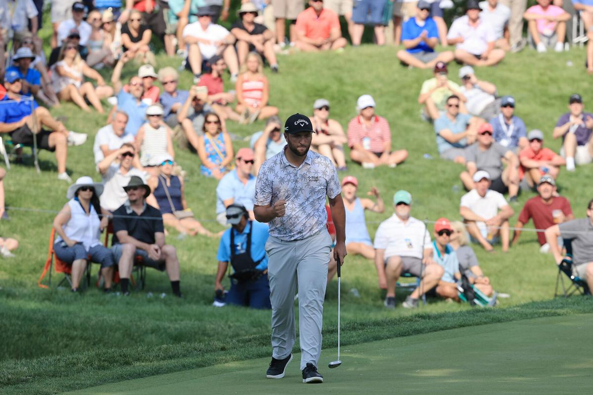 Spain's Jon Rahm reacts to his birdie on the 17th green during the third round of The Memorial Tournament at Muirfield Village Golf Club on Saturday, June 5, 2021 in Dublin, Ohio.