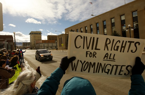 Opponents of anti-gay-marriage bill rally in Casper