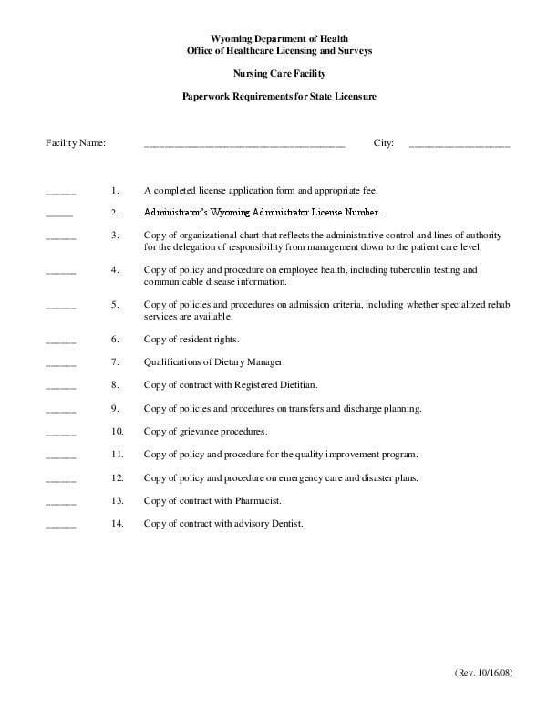 Nursing Home Application Checklist
