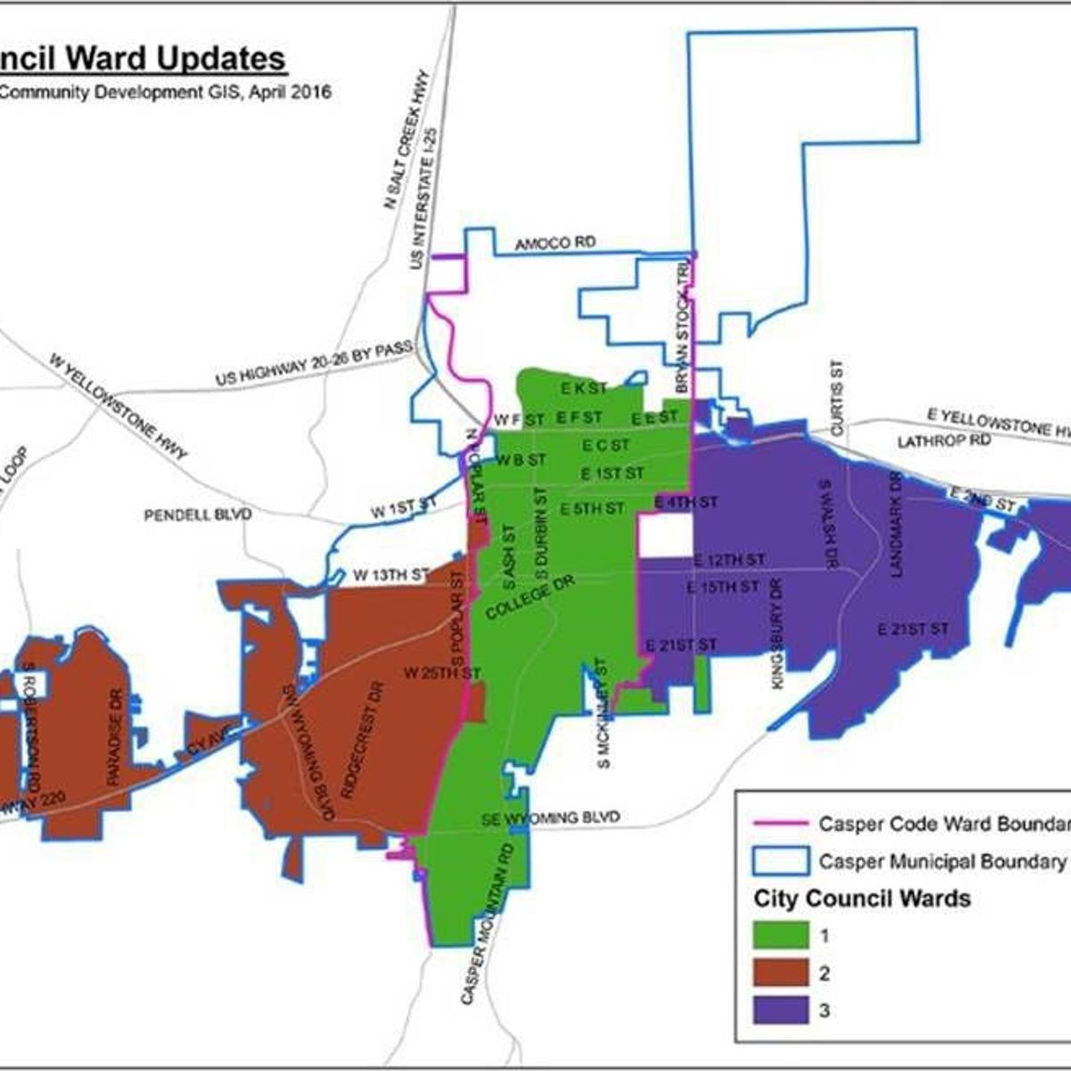 Know your Casper City Council wards     trib.com Casper College Map on