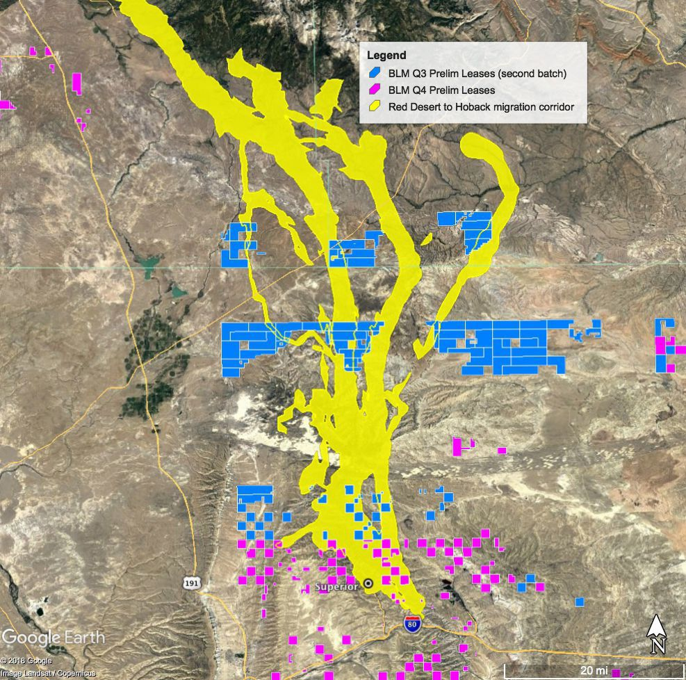 Proposed oil and gas parcels in migration corridor