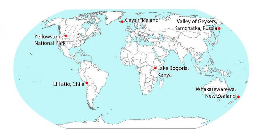 Geysers worldwide