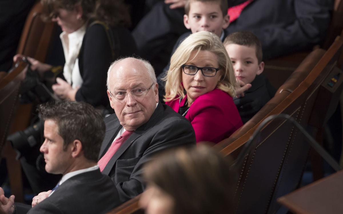 Former vice president Dick Cheney sits with daughter and newly elected U.S.  Rep. Liz Cheney as the 115th Congress convened in January.