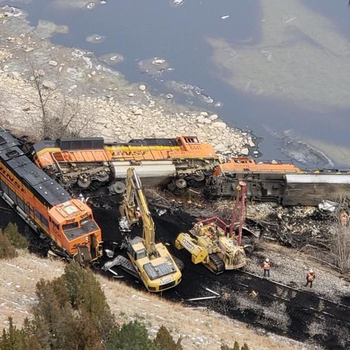 Crew injured, diesel fuel spilled into river when train