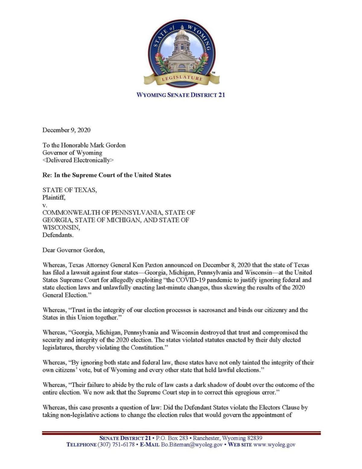 Texas lawsuit letter