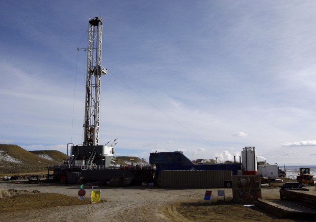 Pinedale Gas Fields rig, square, blue sky