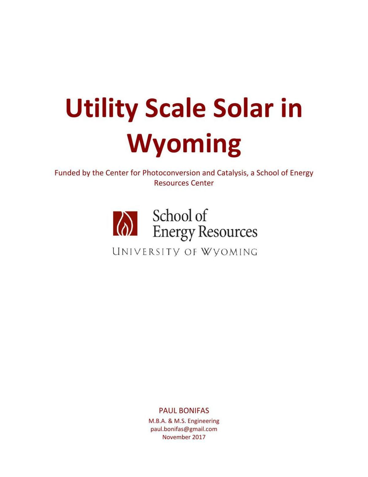 Utility Scale Solar in Wyoming