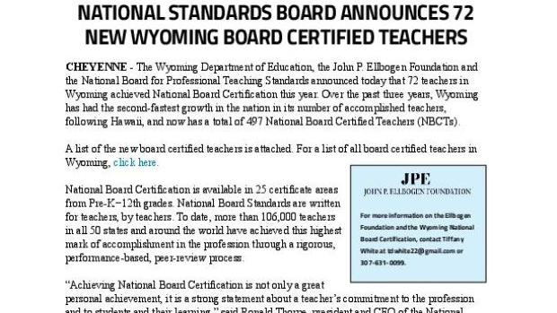 Wyoming teachers achieve national board certification   Education ...