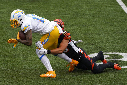 Burrow runs for TD but Chargers rally 16-13 over Bengals