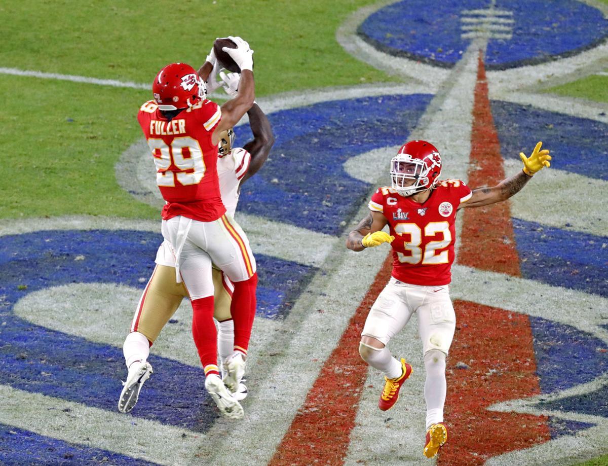 Kansas City Chiefs cornerback Kendall Fuller (29) intercepts a pass from San Francisco 49ers quarterback Jimmy Garoppolo (10) during the fourth quarter of Super Bowl LIV at Hard Rock Stadium in Miami Gardens, Fla. on Sunday, Feb. 2, 2020.