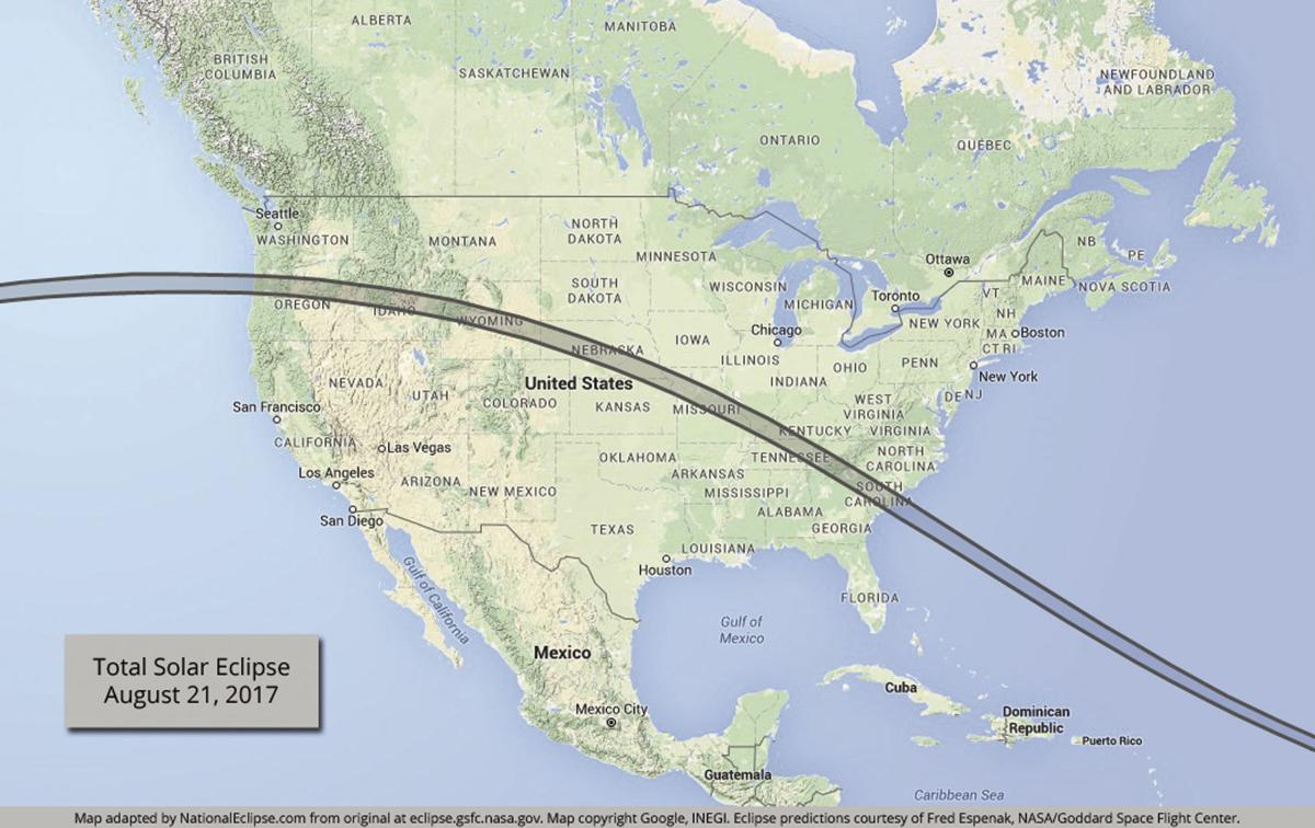 Map of U.S. with path of eclipse