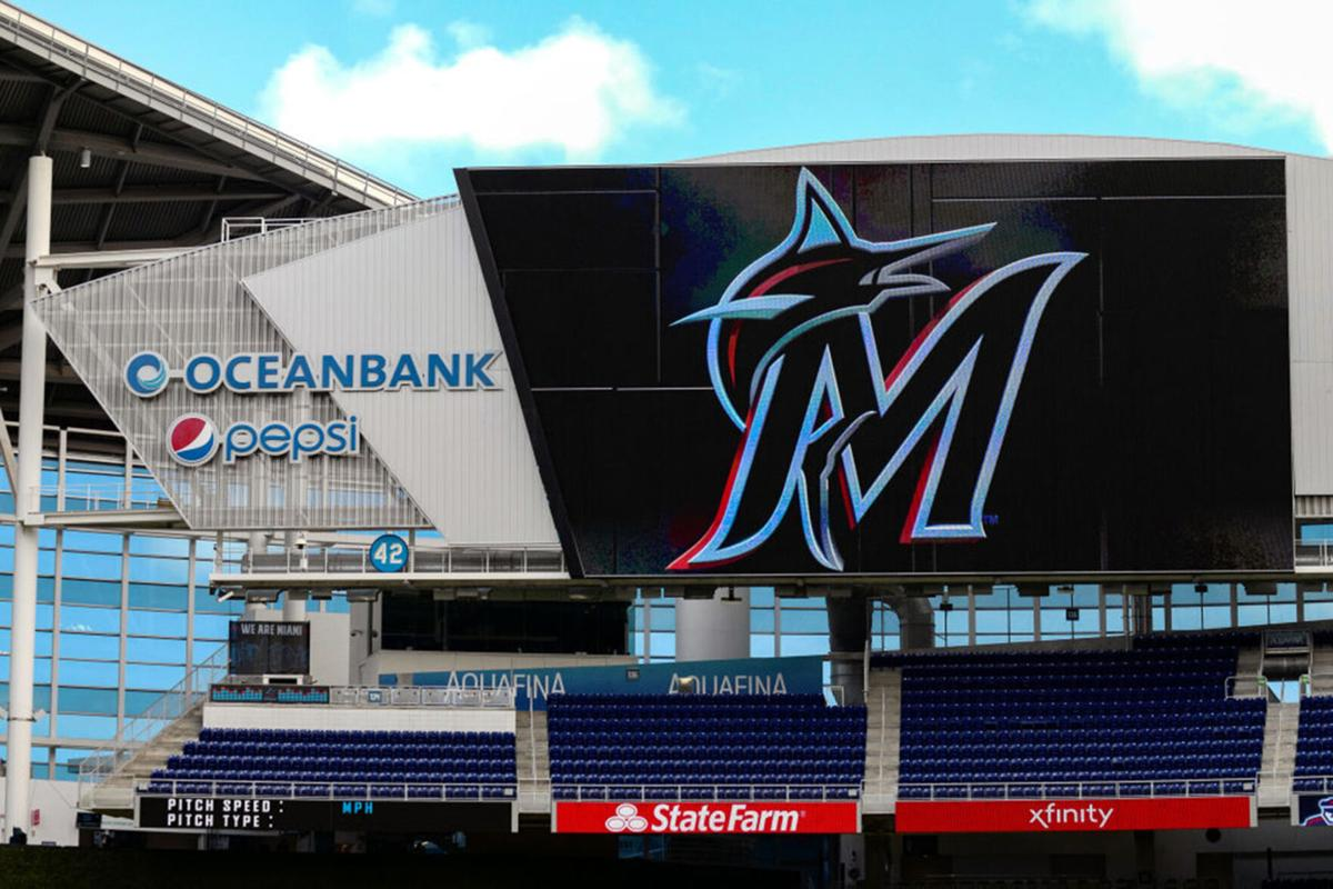 The Miami Marlins logo on the scoreboard at Marlins Park in Miami prior to a game against the Colorado Rockies on March 29, 2019.