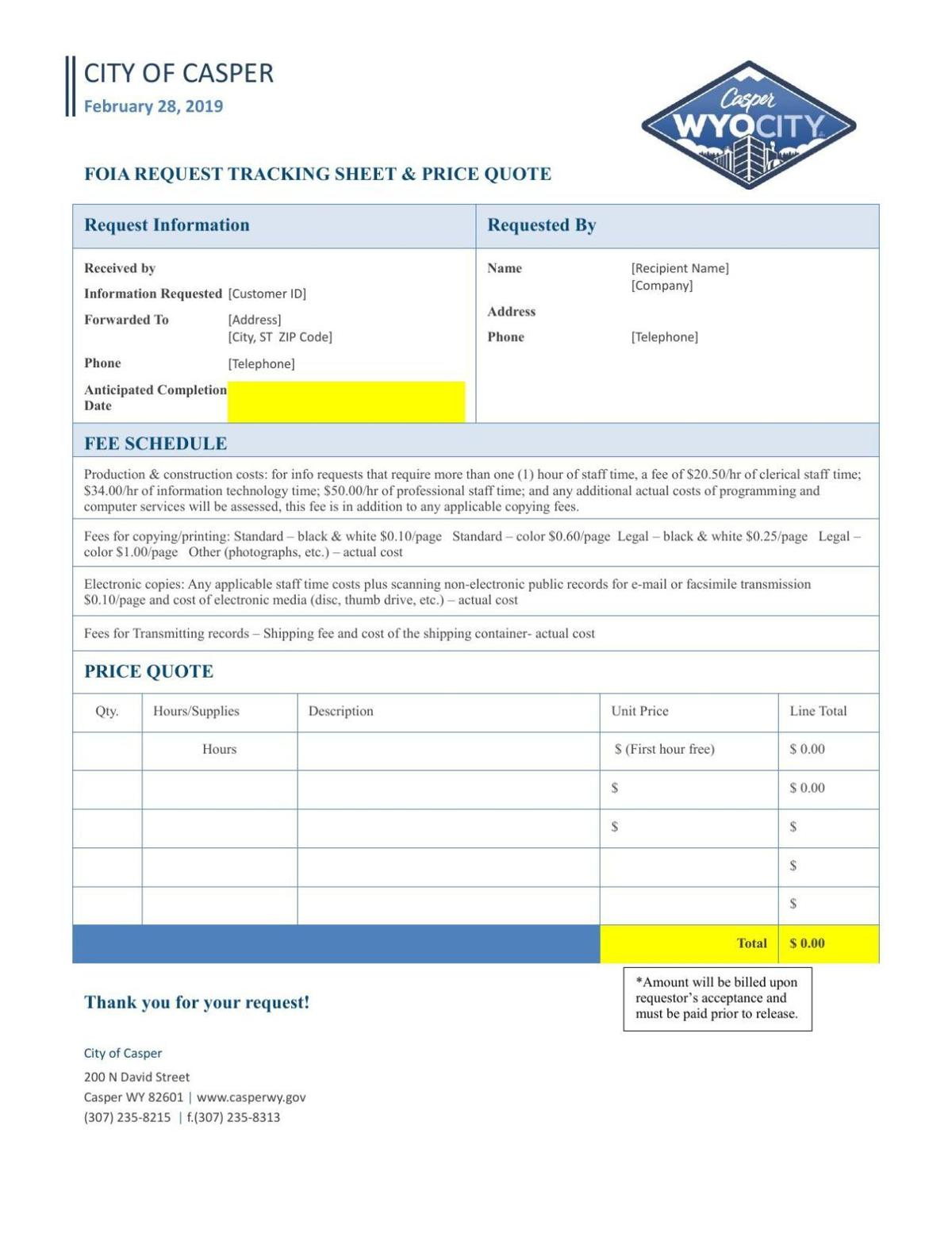 City of Casper records request tracking template and fee schedule