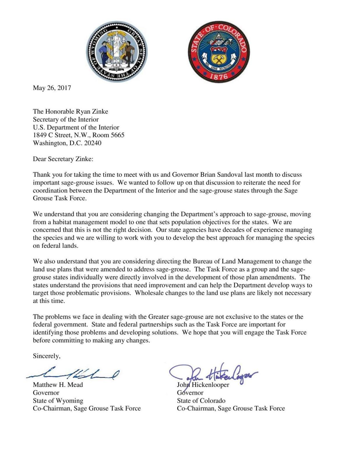 Governors' letter to Secretary Zinke