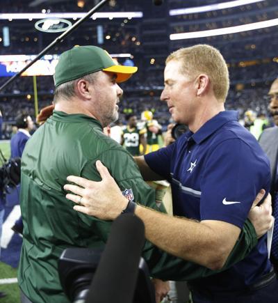 Green Bay Packers head coach Mike McCarthy and Dallas Cowboys head coach Jason Garrett on Sunday, Jan. 15, 2017 in AT&T Stadium in Arlington, Texas.