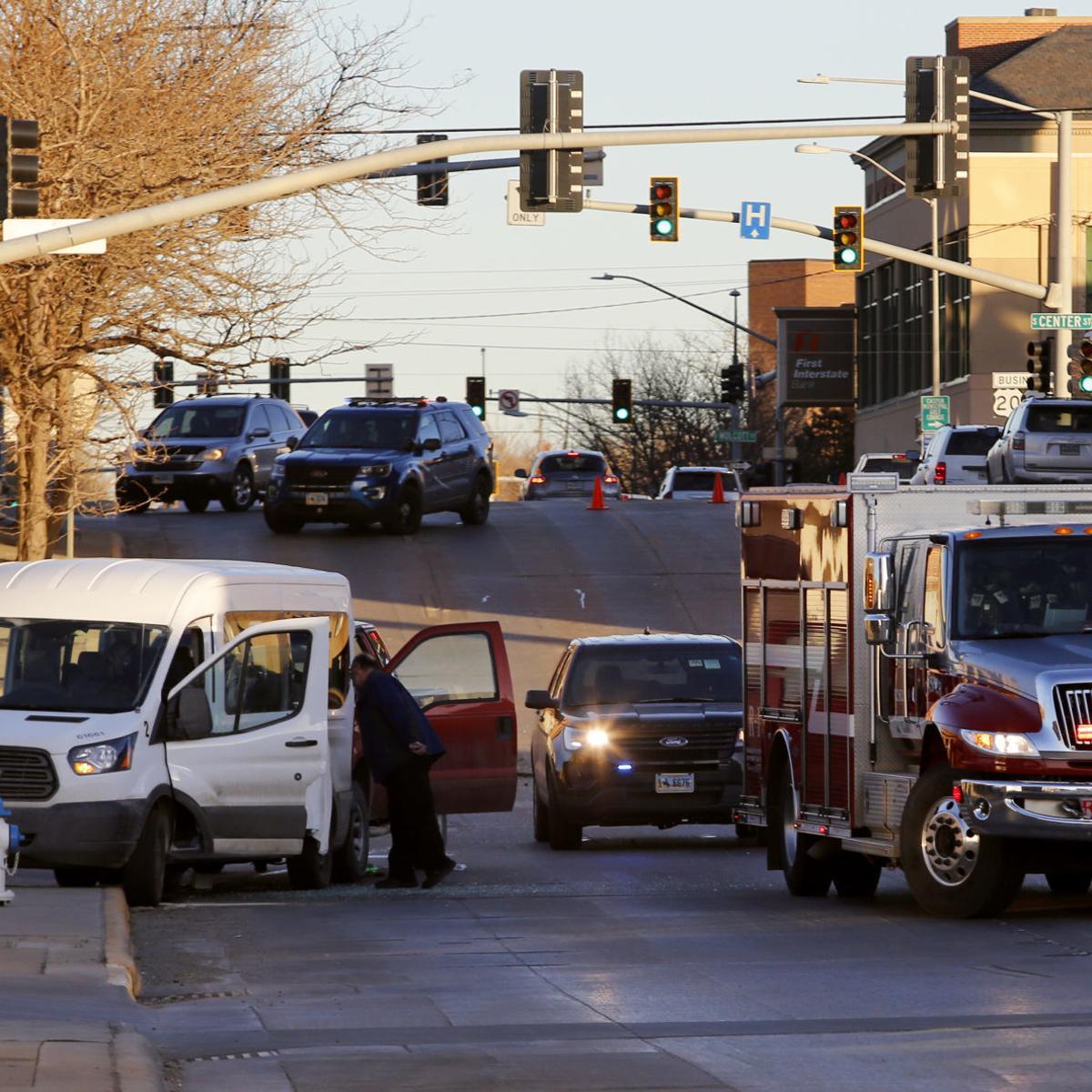 Downtown Casper car crash sends van full of people to