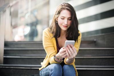 Woman reading phone