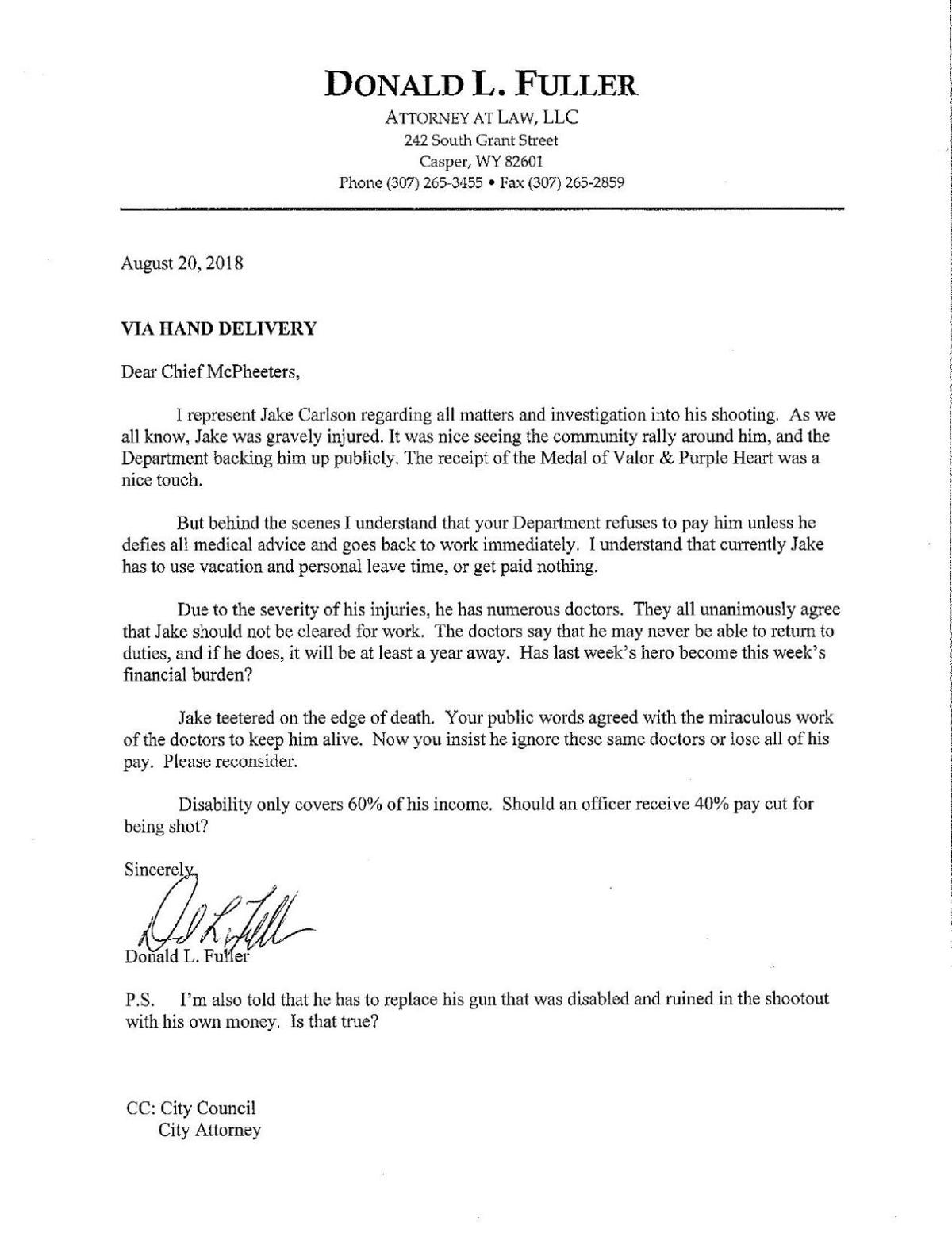Letter Don Fuller sent to Casper's chief of police