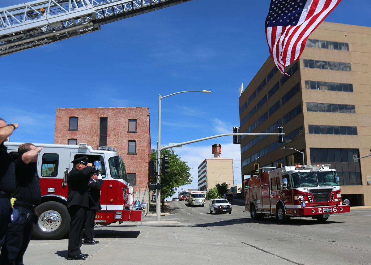 Procession for Casper Fire-EMS Capt. Scott Low 1