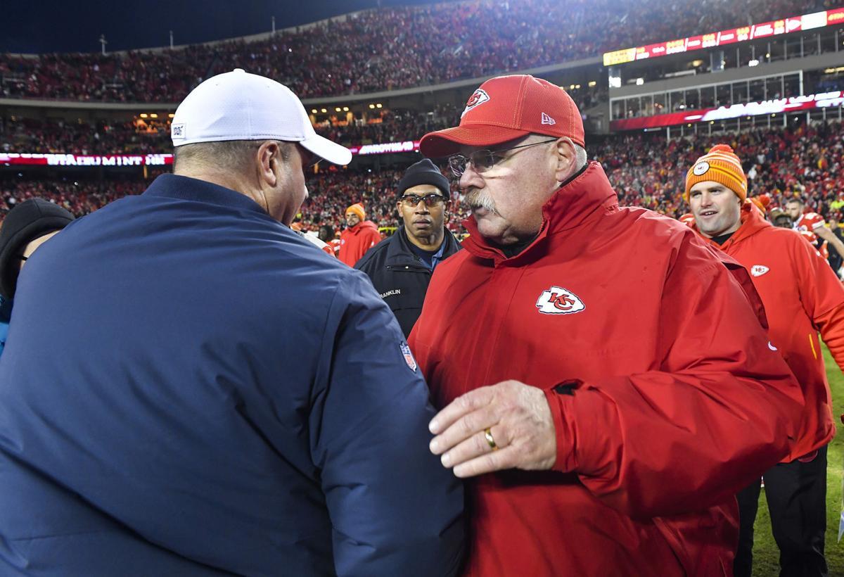 Kansas City Chiefs head coach Andy Reid, right, greets Houston Texans head coach Bill O'Brien after the Chiefs defeated the Texans 51-31 Sunday, Jan. 12, 2020, at Arrowhead Stadium in Kansas City, Mo.