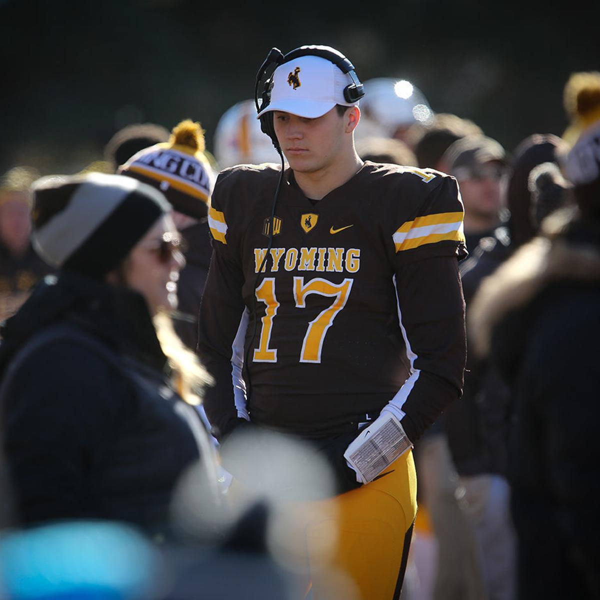 pretty nice d7ece 5540a Former Wyoming quarterback Josh Allen takes the stage at the ...