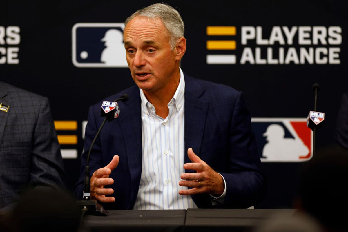 Commissioner of Baseball Robert D. Manfred Jr. speaks during a press conference announcing a partnership with the Players Alliance during the Gatorade All-Star Workout Day at Coors Field on July 12, 2021 in Denver, Colorado.