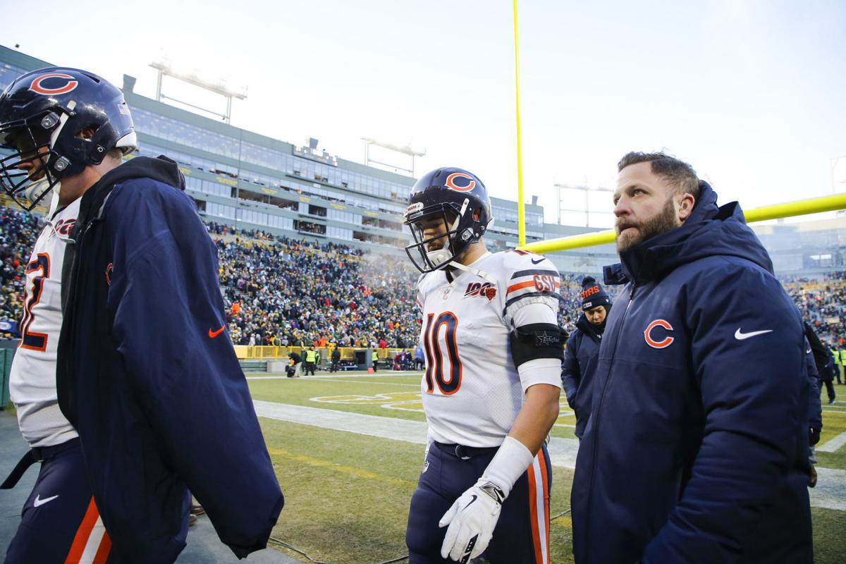 Chicago Bears quarterback Mitch Trubisky (10) walks off the field after a loss against the Green Bay Packers at Lambeau Field in Green Bay on Sunday, Dec. 15, 2019.