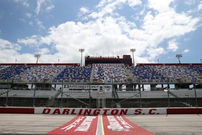A general view of an empty grandstands prior to the NASCAR Cup Series The Real Heroes 400 at Darlington Raceway on May 17, 2020 in Darlington, S.C. NASCAR resumes the season after the nationwide lockdown due to the ongoing coronavirus pandemic.