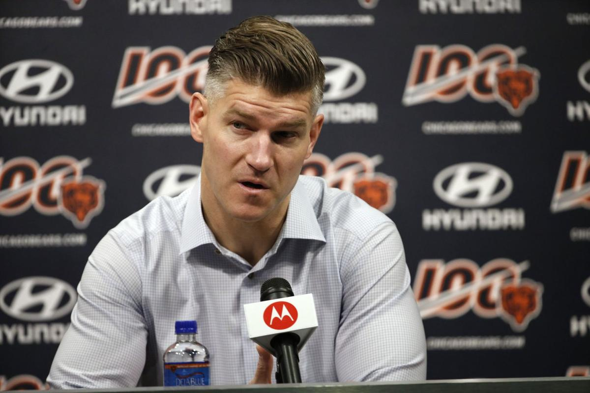 Bears general manager Ryan Pace speaks at a news conference at Halas Hall on Dec. 31, 2019, in Lake Forest.