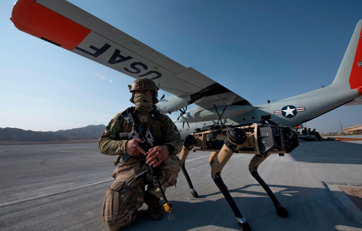 Robot dogs join US Air Force exercise giving glimpse at potential battlefield of the future
