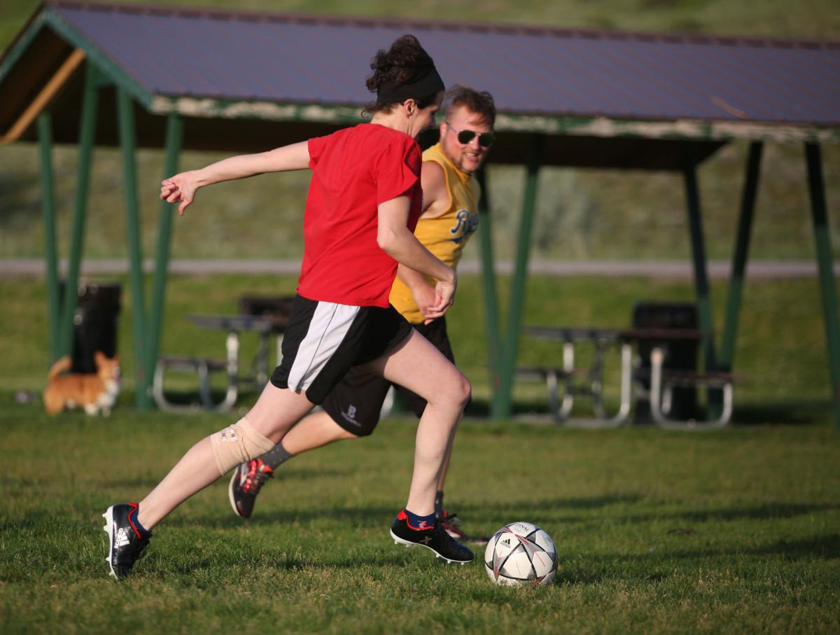 4bdcced1a8b20 Heather Richards plays soccer with coworkers after work in early June at  Mike Sedar Park in Casper. Richards