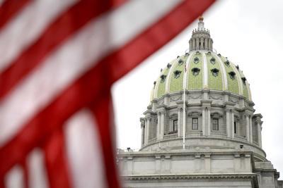Pennsylvania Capitol with flag