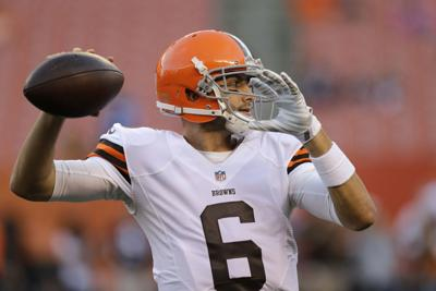 f2852ae6310 Browns quarterback Brian Hoyer warms up before a preseason game against the  Bears on Aug. 28