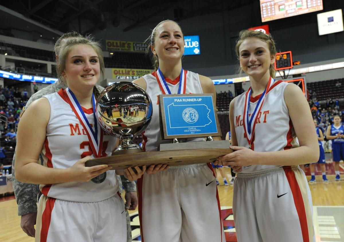 Piaa notebook seniors provide blueprint for younger bishop mccort from left holding their runner up trophy are bishop mccort seniors aunna yingling haley thomas and machala gibbons after losing 63 49 to minersville in malvernweather Choice Image