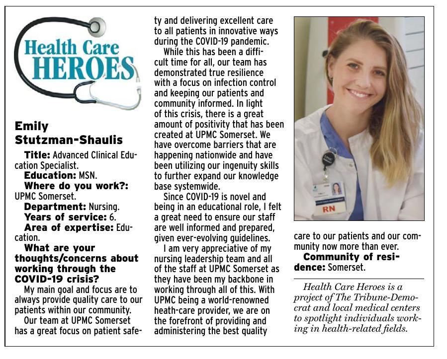 Health Care Heroes   Emily Stutzman-Shaulis