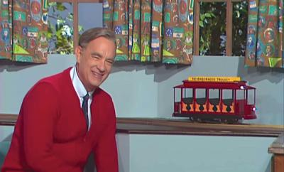 "Tom Hanks as Fred Rogers in ""A Beautiful Day in the Neighborhood"""