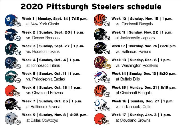 Steelers Release 2020 Schedule Sports Tribdem Com