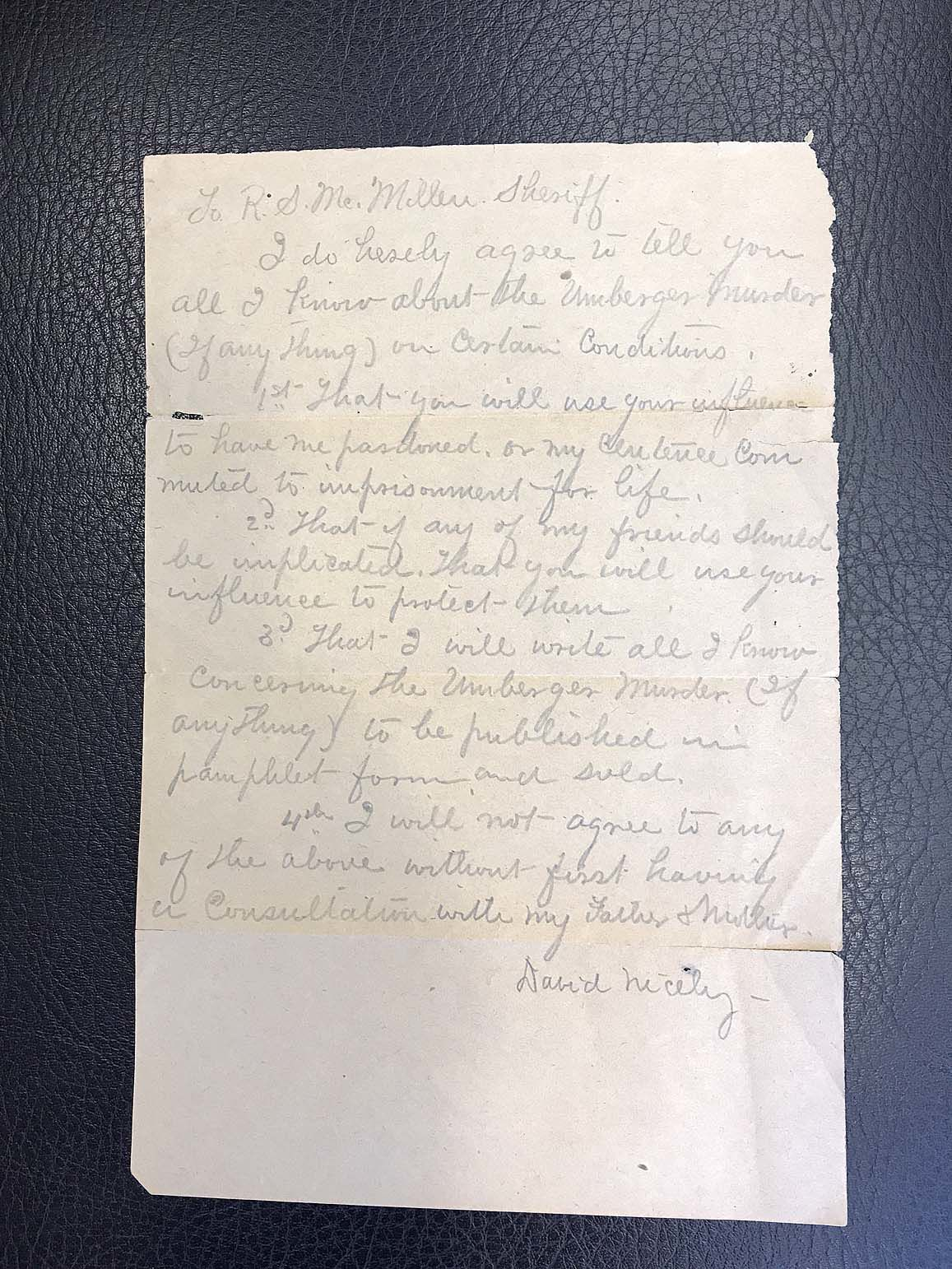 19th-century killer's letter found, donated to Somerset