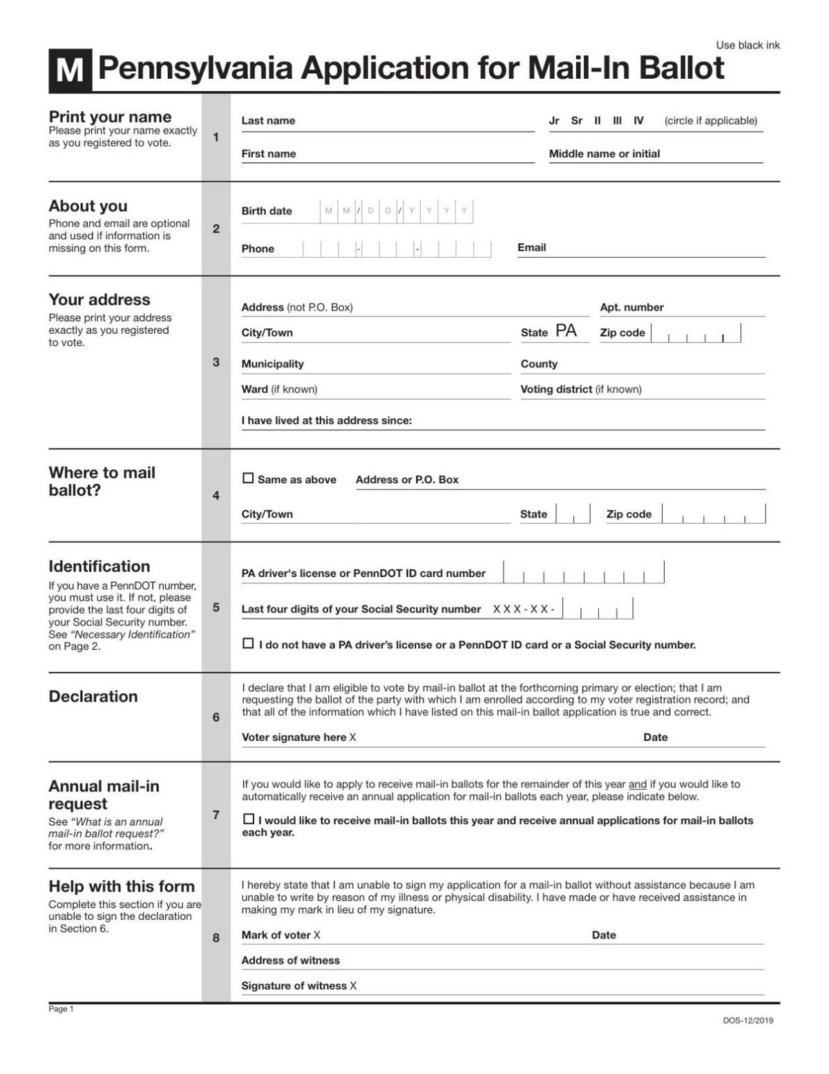 Application for mail-in ballot