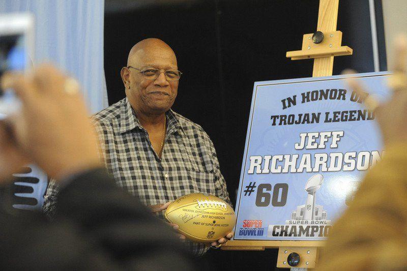 Jeff Richardson presents Super Bowl golden football