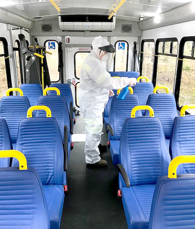CamTran bus being cleaned