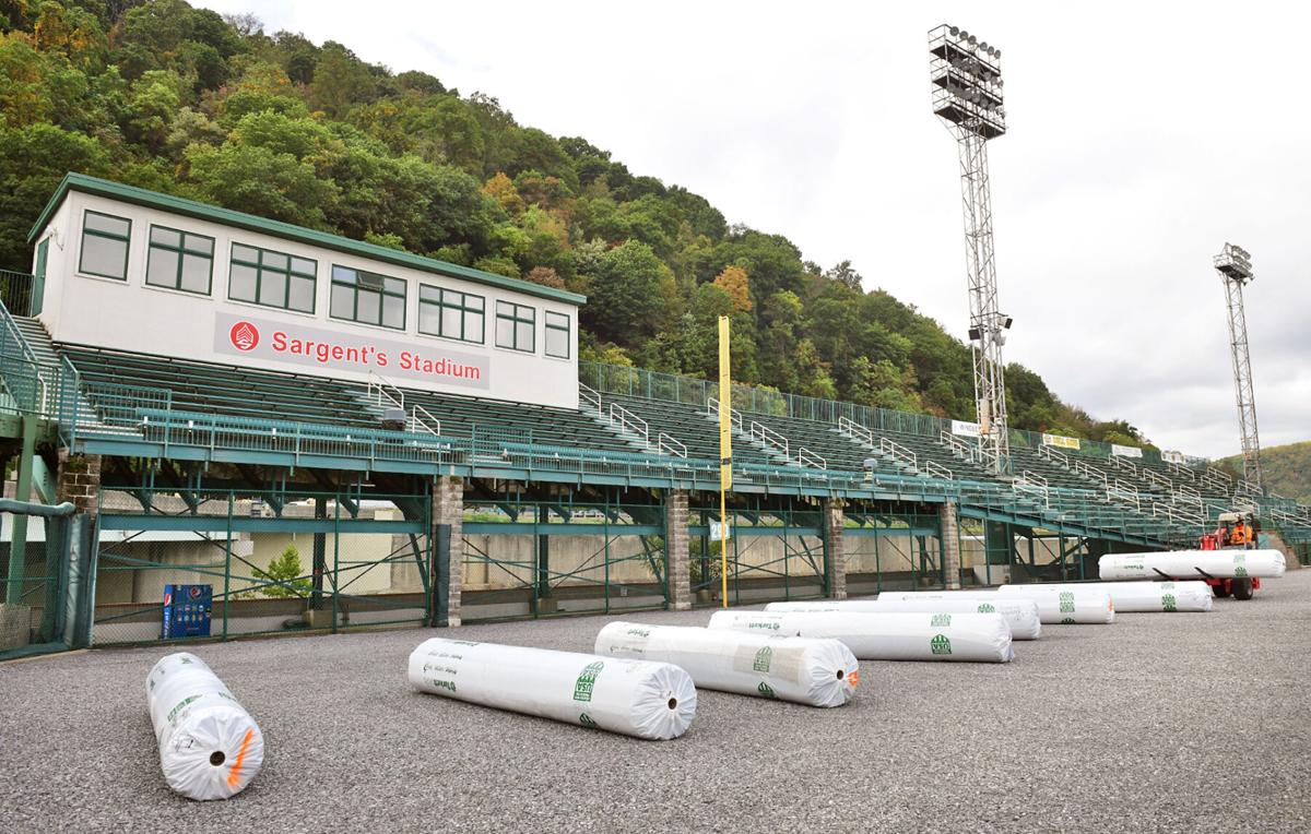 Artificial Turf Arrives   Sargent's Stadium at the Point