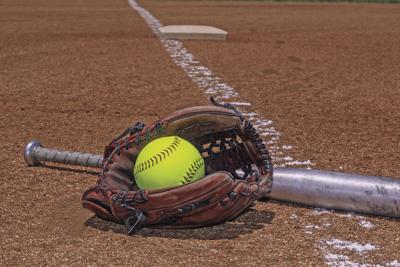 Softball, glove and bat