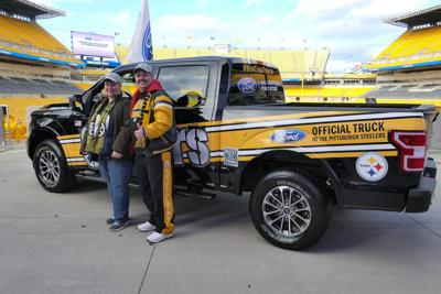 c7b6b7837 Johnstown resident Joseph Hochstein (right) is the winner of the 2018 official  truck of the Pittsburgh Steelers in Neighborhood Ford Store s Toughest Truck