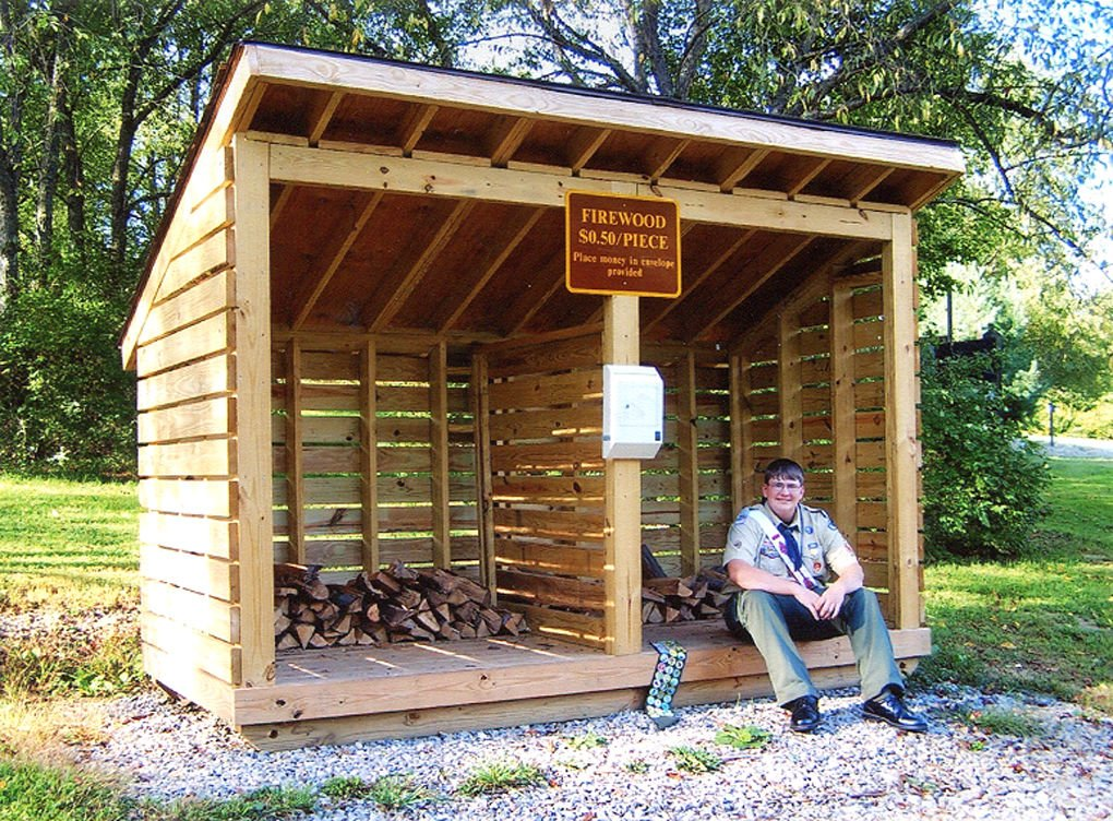 Firewood Storage Shelter : Person of the week park project scout builds firewood