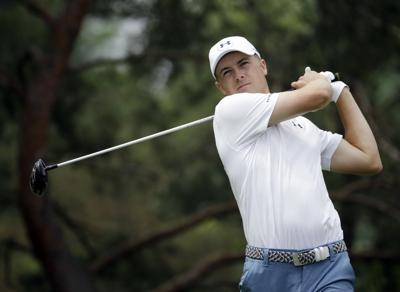 1d04fb1b292f07 Jordan Spieth watches his tee shot on the second hole during the third  round of the Memorial golf tournament