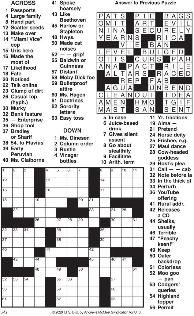 Crossword 5 12 20 Tribstar Com