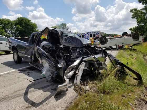 Vehicle damaged in I-70 accident